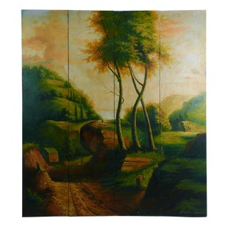 Italian Landscape Four Panel Oil Painting For Sale