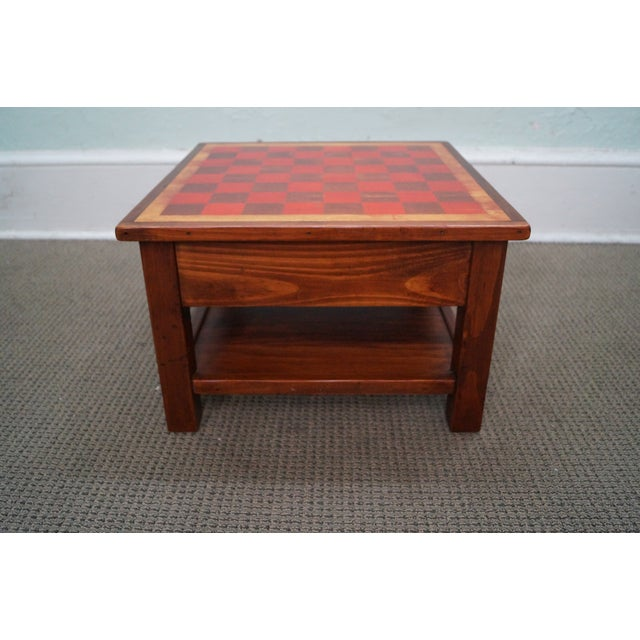 Solid Pine Primitive Checkerboard Top Side Table - Image 3 of 10