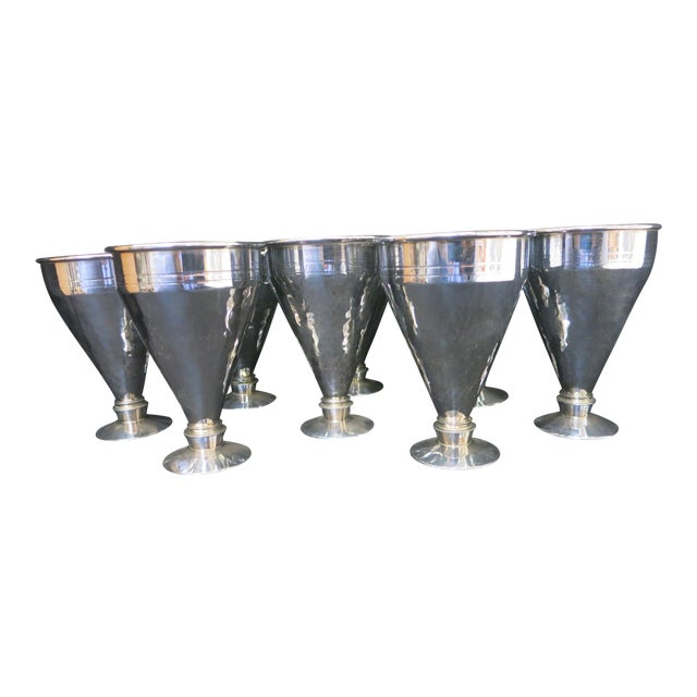 Vintage Set of Eight Fashionable Aluminum Cups For Sale