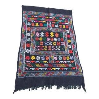 Moroccan Vintage North African Black Tribal Kilim Rug For Sale