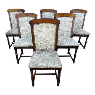 French Antique Louis XIV Style Oak Wood Dining Chairs - Set of 6