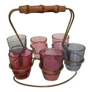 1950s Mid-Century Modern Rein Messing Schnapps Glasses - 7 Pieces For Sale