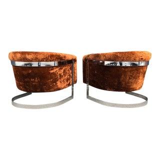 1970s Mid-Century Modern Milo Baughman Style Auburn Lounge Chairs - a Pair For Sale