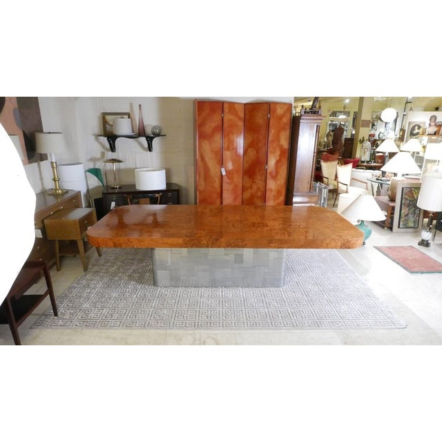 """Monumental Signed Paul Evans Burled & Chrome """"Cityscape"""" Extension Dining Table For Sale - Image 11 of 13"""