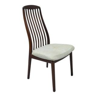 Vintage Dyrlund Mid Century Danish Modern Teak Dark Wood Dining Side Chair For Sale