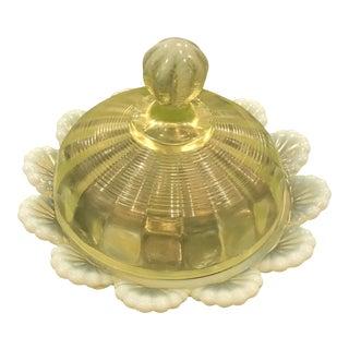 1905 Northwood Klondyke Pattern Uranium Glass Candy Dish For Sale