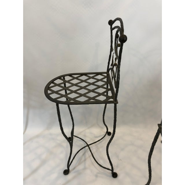 1980s 1980s Vintage Giacometti Style Whimsical Hand Forged Iron Counter Stools - Set of 5 For Sale - Image 5 of 11