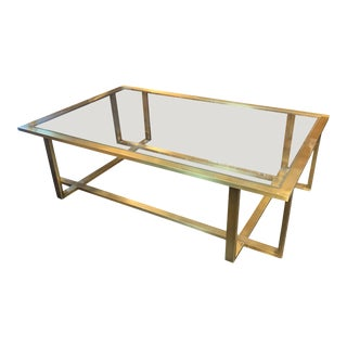 Large Italian Midcentury Brass Coffee Table For Sale