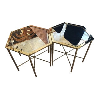 Vintage Hollywood Regency Mastercraft Polished Brass Antique Mirror Side End Tables -A Pair For Sale