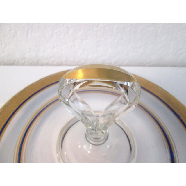 Vintage Gold & Navy Blue Glass Tidbit Plate - Image 3 of 5