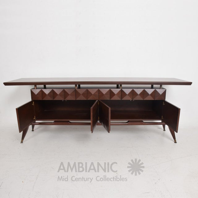 Mid-Century Modern Mid-Century Mexican Modernist Mahogany Credenza For Sale - Image 3 of 10