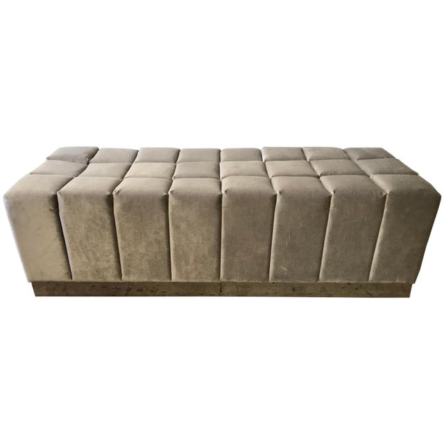 Harvey Probber Style Biscuit Tufted Grey Velvet and Steel Bench or Ottoman For Sale - Image 13 of 13