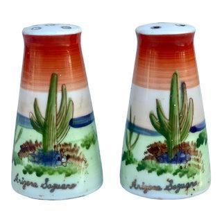 Vintage Porcelain Arizona Saguaro Southwestern Cactus Salt & Pepper Shakers For Sale