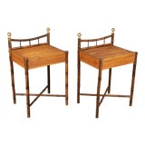 Image of French Mid-Century Bamboo & Rattan Side Tables, a Pair For Sale