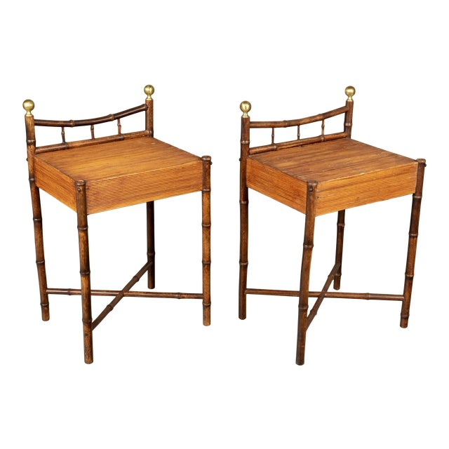 French Mid-Century Bamboo & Rattan Side Tables, a Pair For Sale