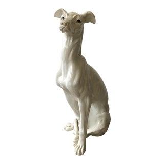 Mid CenturyItalian White Glazed Metal Greyhound Dog Sculpture For Sale