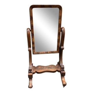19th Century Empire Burl Wood Floor Mirror For Sale