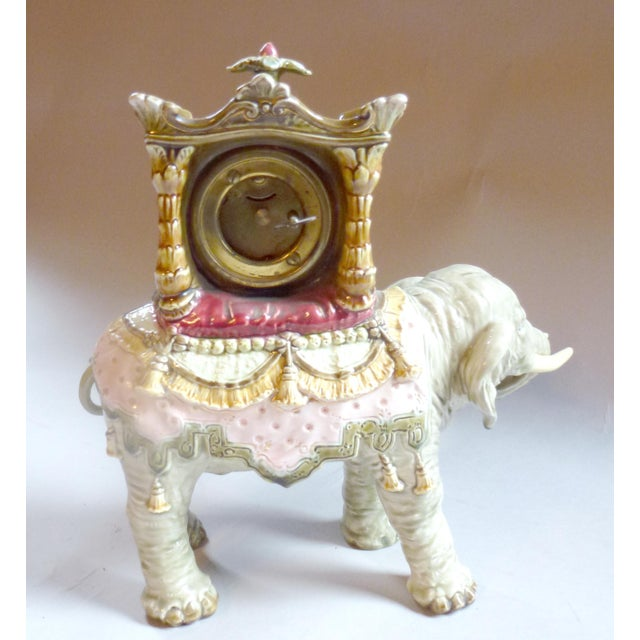 Figurative Bohemian Faience Elephant Form Mantle Clock Late 19th Century For Sale - Image 3 of 7