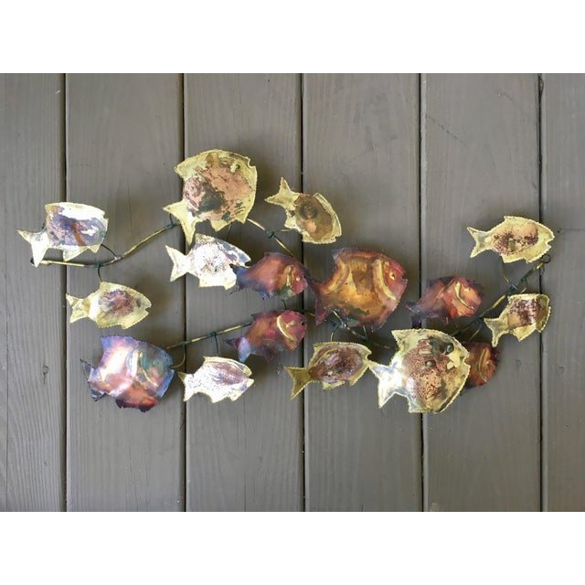 Vintage Jere Style Mid-Century Modern Brutalist Metal Fish Wall Art in Copper and Brass For Sale In Charleston - Image 6 of 7