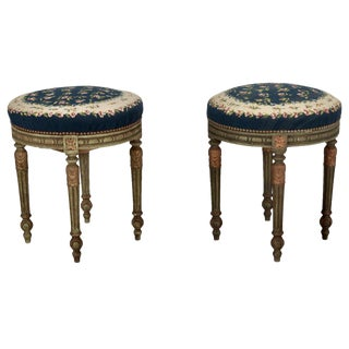 French Painted Round Stools With Blue Needlework Upholstery - Pair For Sale