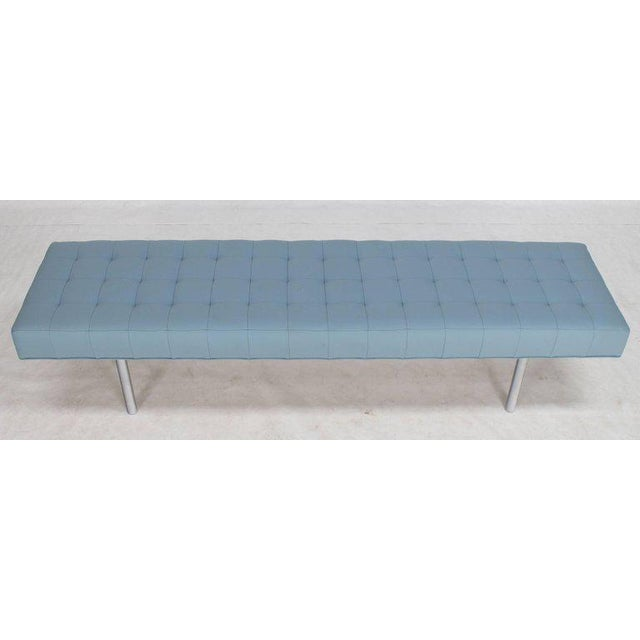 Tufted Light Blue Upholstery Chrome Cylinder Legs Long Bench Almost Daybed For Sale - Image 4 of 9