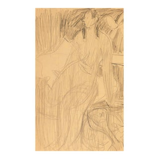 'Seated Nude With Mandolin' by Victor Di Gesu; 1955, Paris, Louvre, Académie Chaumière, California Post-Impressionist, Lacma For Sale