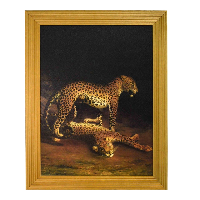 Two Leopards Lying in the Exeter Exchange by Jacques-Laurent Agasse Reproduction 47h X 37winches For Sale