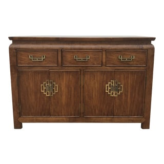 1970s Chinoiserie Century Chin Hua Sideboard With Brass Hardware For Sale