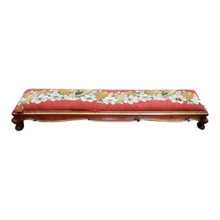 American Victorian Carved Mahogany Long Footstool C.1890 For Sale