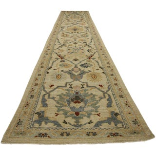 "Neoclassical Style Persian Sultanabad Hallway Runner - 3' X 16'3"" For Sale"
