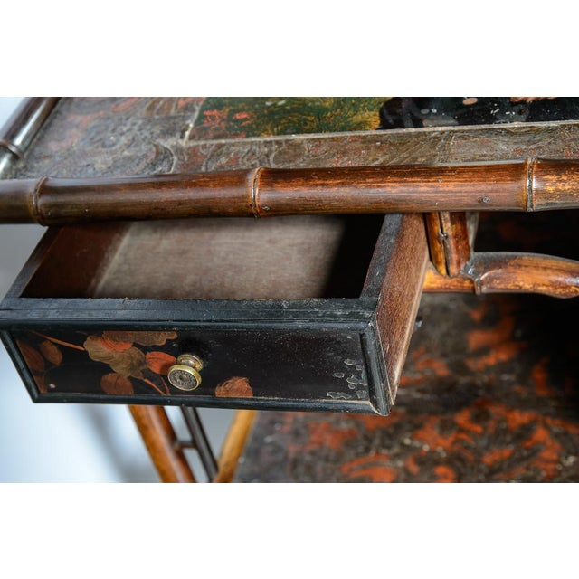 Antique English Bamboo and Lacquer Cabinet For Sale - Image 4 of 9