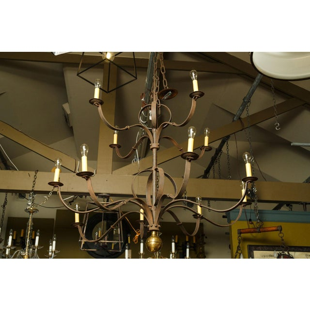 Monumental Two-Tier Forged Iron Chandelier For Sale - Image 4 of 10