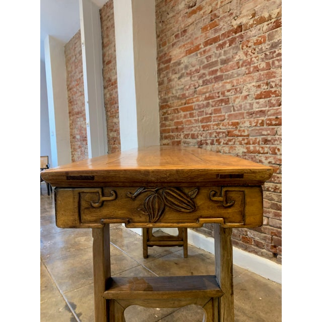 Wood Antique Hand Carved Wood Altar Table/Console For Sale - Image 7 of 12