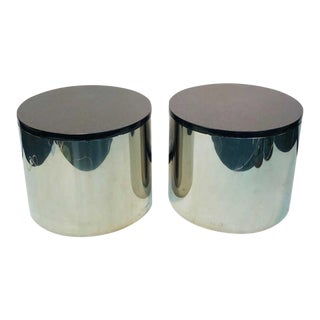 Pair of Large Polished Aluminum Drum Tables Paul Mayen Habitat For Sale