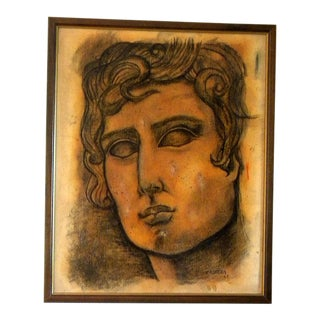Mid-Century Neoclassical Antique Greek Male Bust Painting For Sale