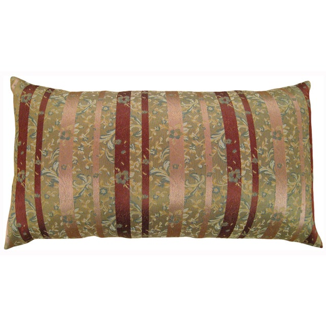 "A pair of vintage decorative Chinoiserie brocade pillow with stripes, size 34"" x 18"" (2'10"" x 1'6""). This elegant vintage..."