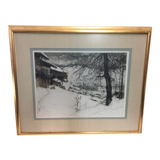 Luigi Kasimir Etching Cortina d'Ampezzo 1925 Italian Alps Signed For Sale