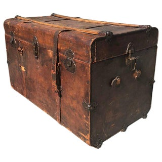 Antique Leather and Wood Trunk, circa 1890 For Sale