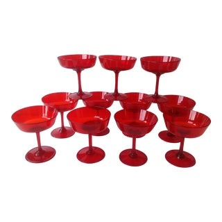 Mid-Century Ruby Red Crystal Coupe Champagne Glasses - Set of 11
