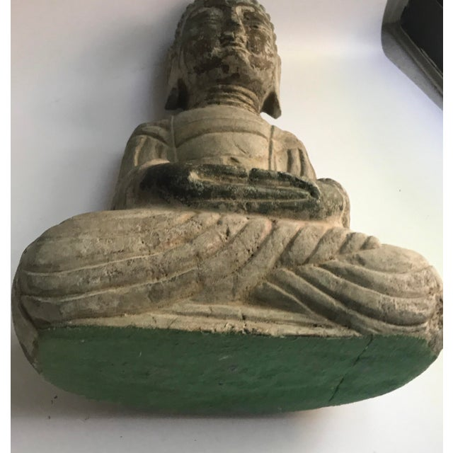 Antique Tibetan Carved Stone Temple Buddha For Sale - Image 9 of 13
