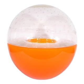 Carlo Nason for Mazzega Italian Space Age Orange Globe Table Lamp For Sale