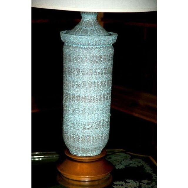 "1960s 1960s Vintage Pale Blue ""Lava"" Ceramic Lamp For Sale - Image 5 of 22"