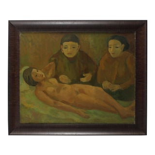 """Jennings Tofel """"Women With Nude"""" Early Expressionist Oil Painting, 1929 1929 For Sale"""