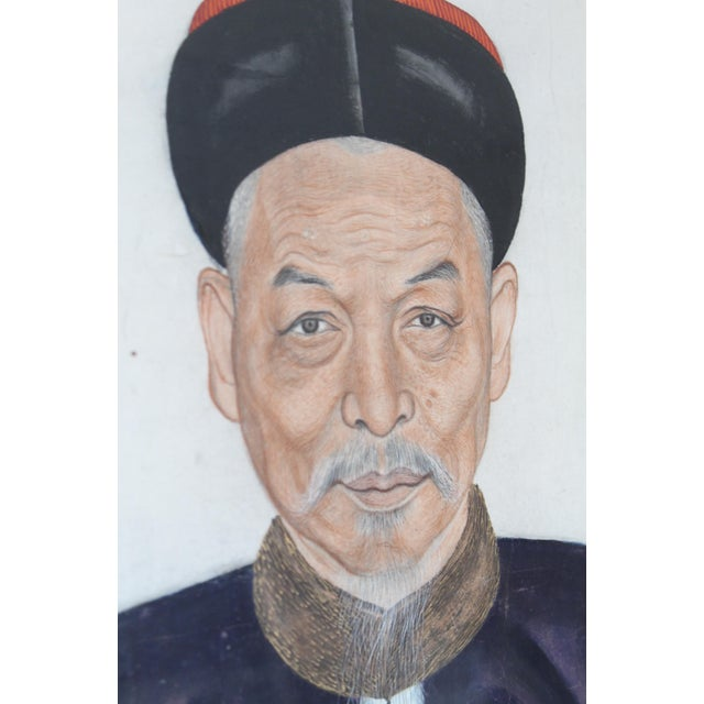 Asian Chinese Ancestor Portrait of a Mandarin For Sale - Image 3 of 8