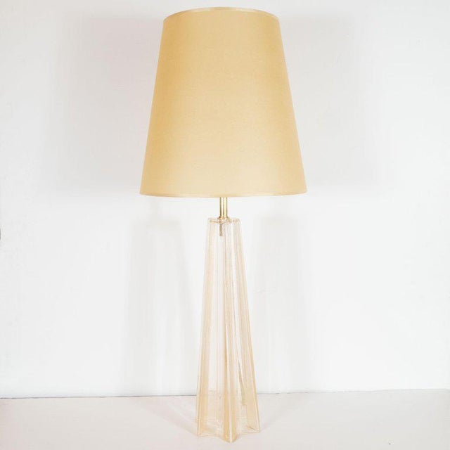Early 21st Century Modernist Hand Blown Murano Glass With 24-Karat Gold Flecks Table Lamps - a Pair For Sale - Image 5 of 7