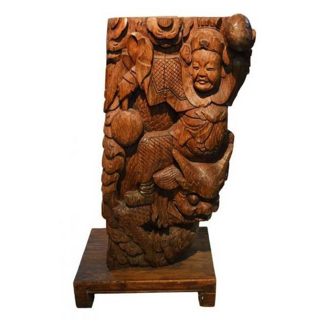 Asian Pair of Antique Hand-Carved Wood Temple Corbels From China, 19th Century For Sale - Image 3 of 11