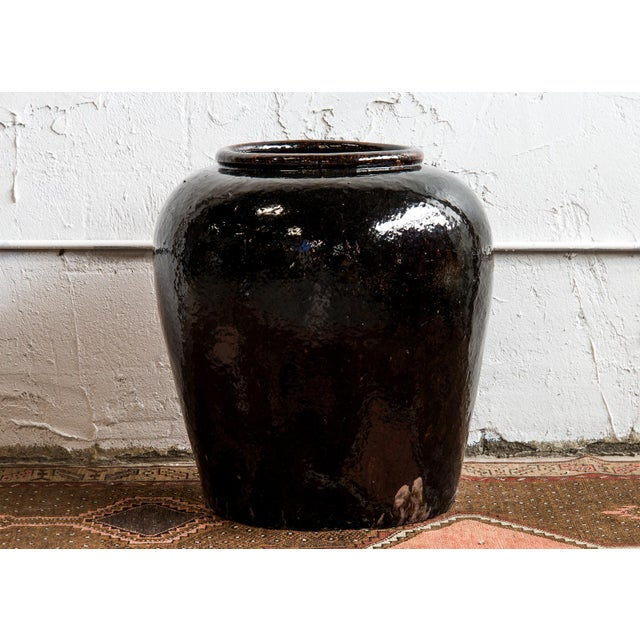 Chinese 1960s Near Pair of Vintage Chinese Glazed Black Ceramic Pots - Sold as a Pair For Sale - Image 3 of 6