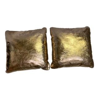 Modern Metallic Pillows- a Pair For Sale