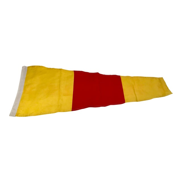 Vintage Nautical Yellow & Red Ship Flag For Sale