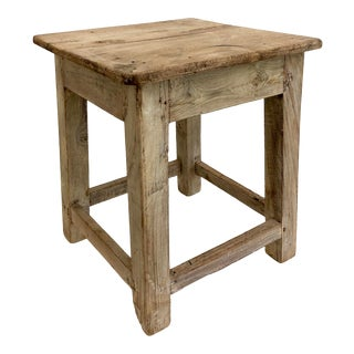 Rustic Salvaged Wood Table/Stool For Sale
